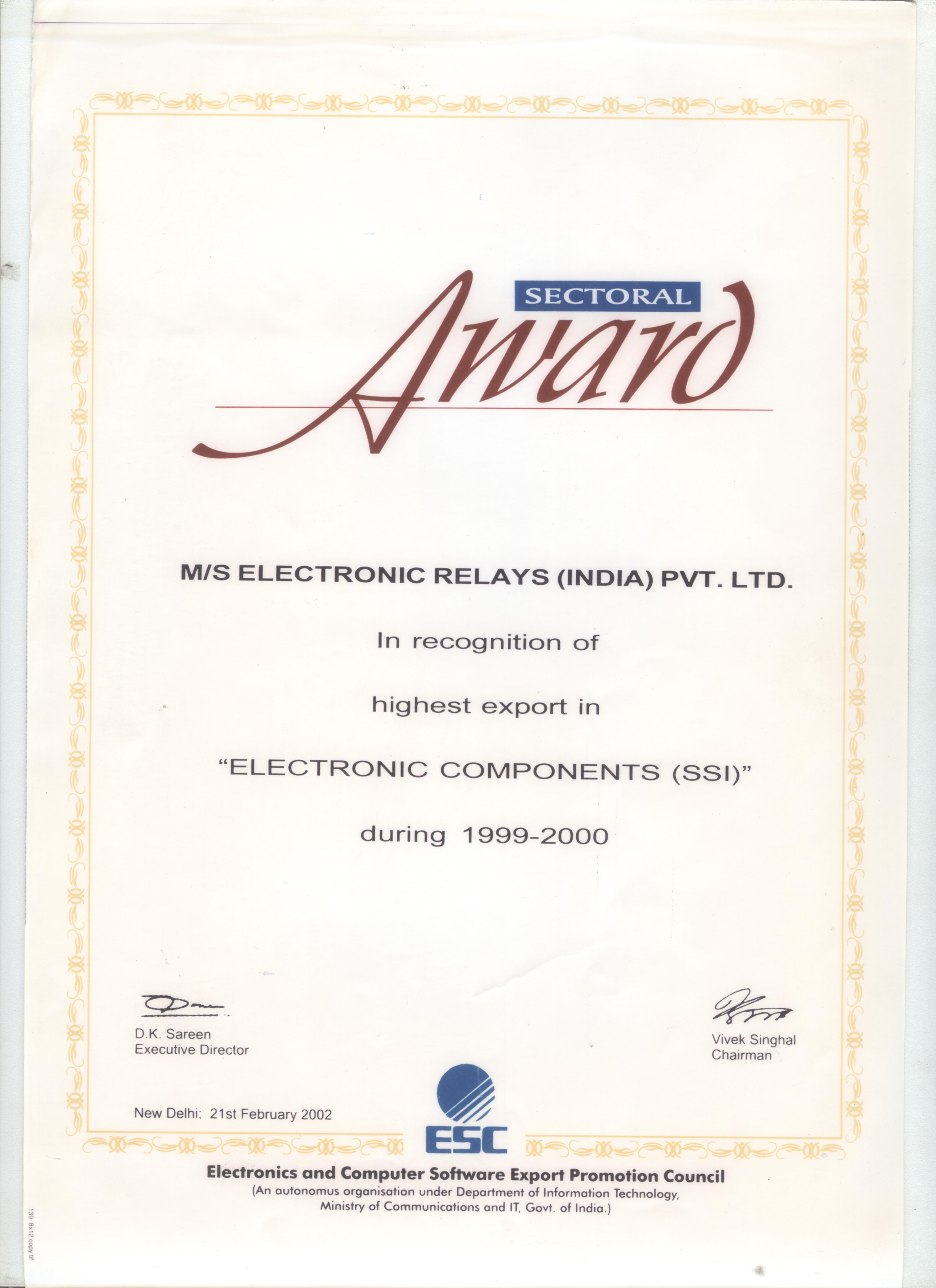 About highest export in electronic components award xflitez Choice Image